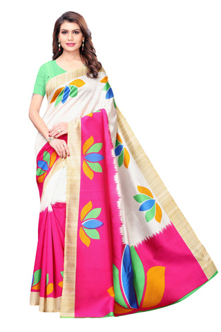 White and Pink Color Kalamkari Mysure Silk Saree - S182443
