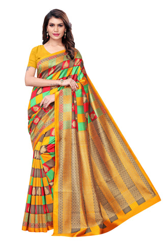 Multi Color Kalamkari Mysure Silk Saree - S182446