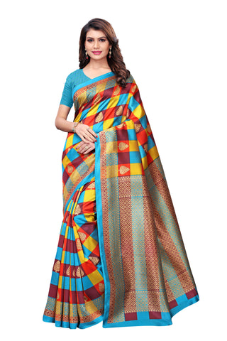 Multi Color Kalamkari Mysure Silk Saree - S182447