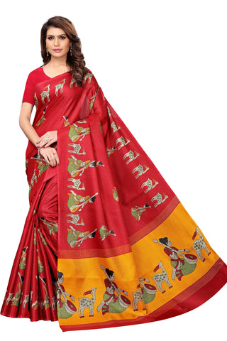 Maroon Color Kalamkari Mysure Silk Saree - S182476