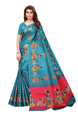Blue Color Kalamkari Mysure Silk Saree - S182478