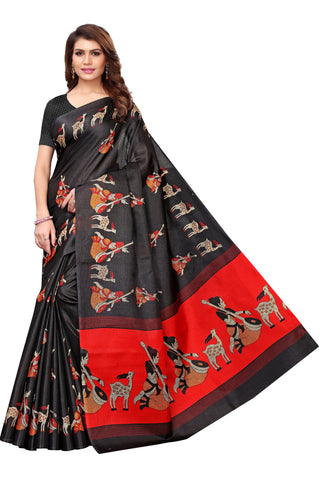 Black Color Kalamkari Mysure Silk Saree - S182480
