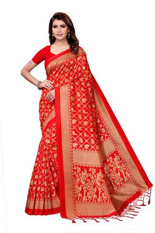 Red Color Art Silk Jhalor Women's Saree - S182579