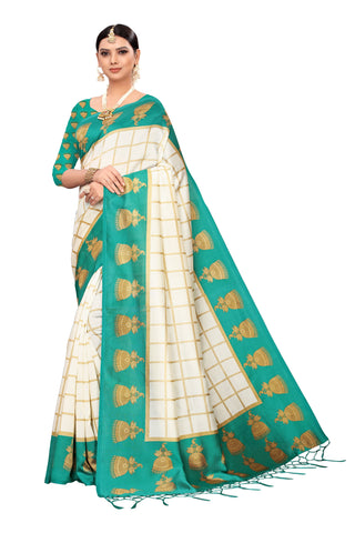 Turquoise Color Art Silk Jhalor Women's Saree - S183179