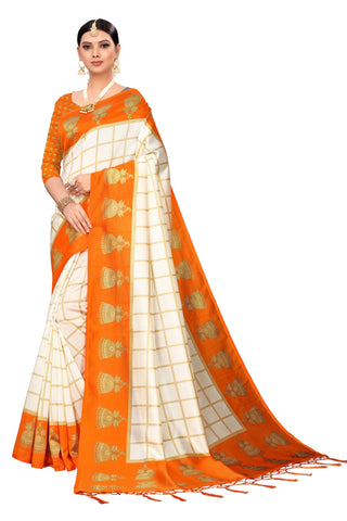 Orange Color Art Silk Jhalor Women's Saree - S183182