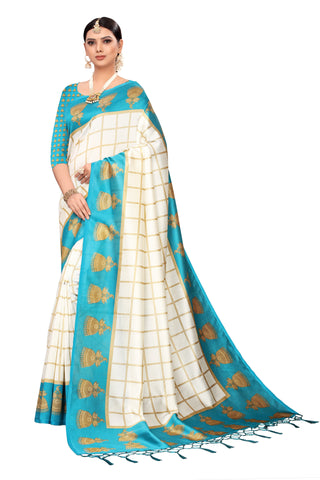 Turquoise Color Art Silk Jhalor Women's Saree - S183184