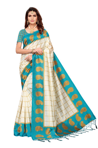 Turquoise Color Art Silk Jhalor Women's Saree - S183211