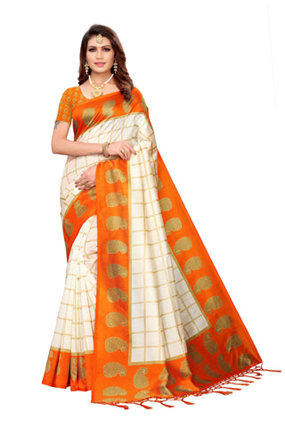 Orange Color Art Silk Jhalor Women's Saree - S183214