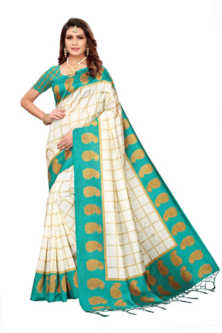 Turquoise Color Art Silk Jhalor Women's Saree - S183216