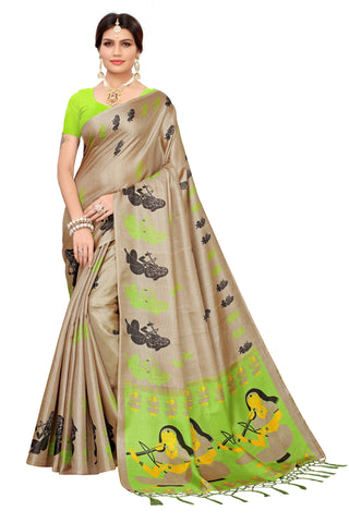 Cream Color Khadi Jhalor Women's Saree - S183226