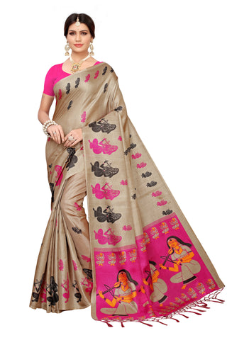 Cream Color Khadi Jhalor Women's Saree - S183227