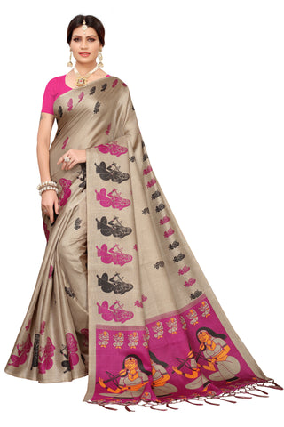 Cream Color Khadi Jhalor Women's Saree - S183228