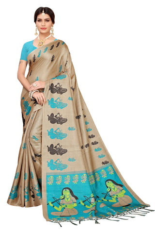 Cream Color Khadi Jhalor Women's Saree - S183229