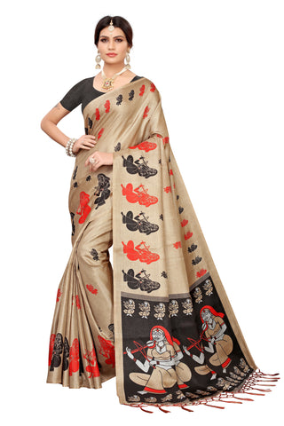 Cream Color Khadi Jhalor Women's Saree - S183230