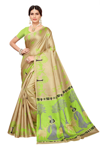 Cream Color Khadi Silk Women's Saree - S183241