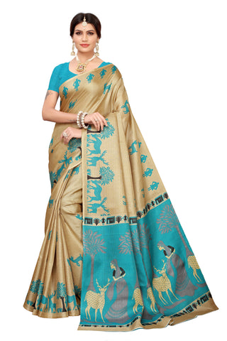Cream Color Khadi Silk Women's Saree - S183242