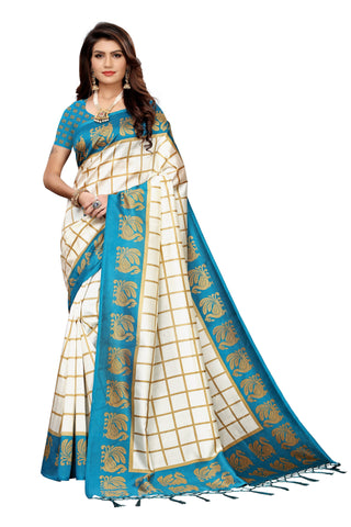 Teal Color Art Silk Jhalor Women's Saree - S183494