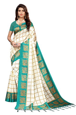 Turquoise Color Art Silk Jhalor Women's Saree - S183495