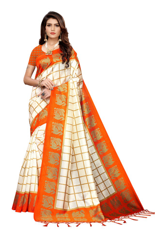 Orange Color Art Silk Jhalor Women's Saree - S183497