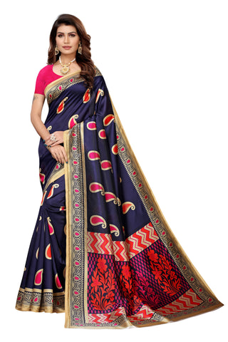 Navy Color Art Silk Women's Saree - S183571
