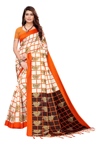 Orange Color Art Silk Jhalor Women's Saree - S183784