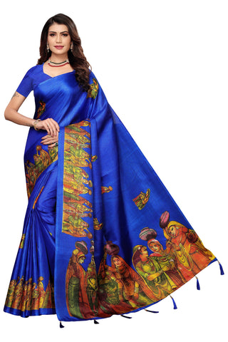 Royal Blue Color Khadi Jhalor Women's Saree - S184817