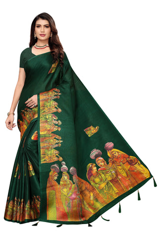 Green Color Khadi Jhalor Women's Saree - S184819