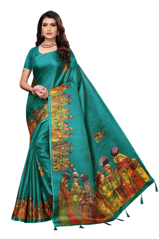 Teal Color  Jhalor Women's Saree - S184821