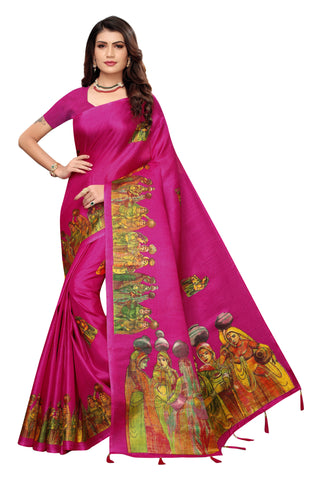 Pink Color Khadi Jhalor Women's Saree - S184822