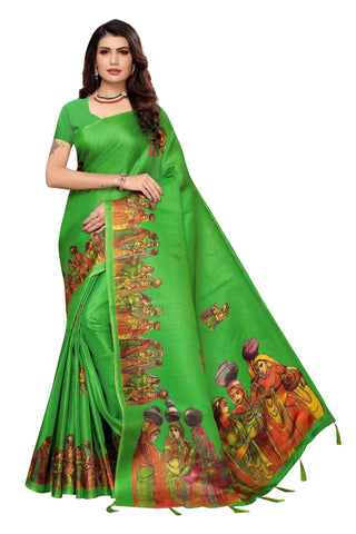 Parrot Green Color Khadi Jhalor Women's Saree - S184823
