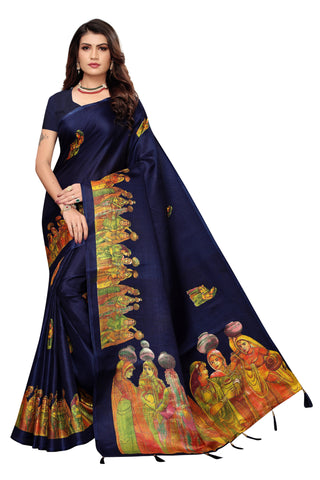 Navy Blue Color Khadi Jhalor Women's Saree - S184826