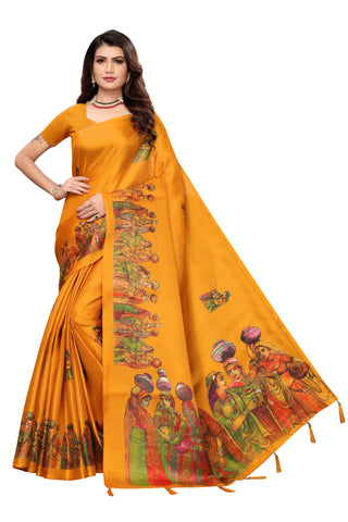 Yellow Color Khadi Jhalor Women's Saree - S184828