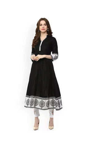 Black Color Cotton Women's Stitched Kurti-SA-Black-Anarkali
