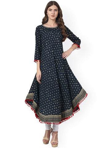 Blue Color Cotton Women's Stitched Kurti-SA-Blue-Anarkali