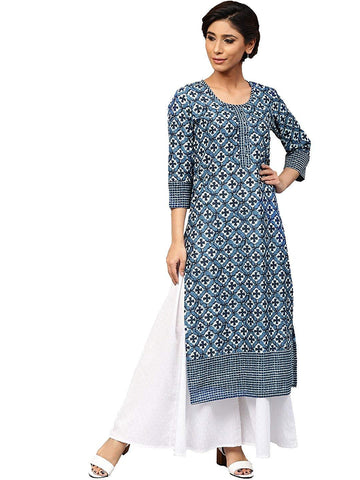 Blue Color Cotton Women's Stitched Kurti-SA-Indigo-kurti