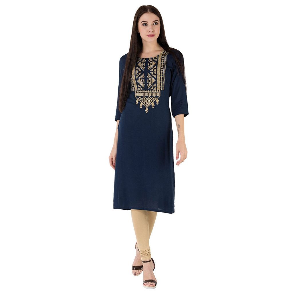 Buy Navy Blue Color Cotton Women's Stitched Kurti