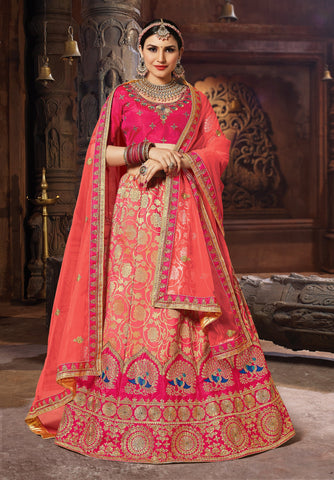 Peach Color Banarasi Semi Stitched Lehenga - SAANCHI-1001