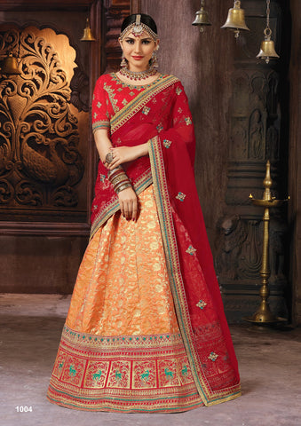 Orange Color Banarasi Semi Stitched Lehenga - SAANCHI-1004