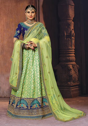 Green Color Banarasi Semi Stitched Lehenga - SAANCHI-1005
