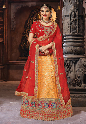 Orange Color Banarasi Semi Stitched Lehenga - SAANCHI-1006