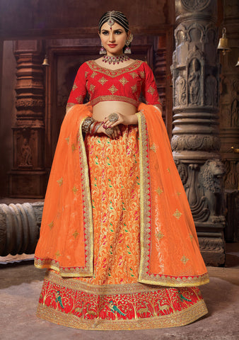 Orange Color Banarasi Semi Stitched Lehenga - SAANCHI-1008