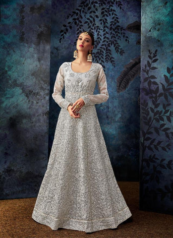 Silver Color Organza Silk Semi Stitched Salwar - SAFEENA-7082