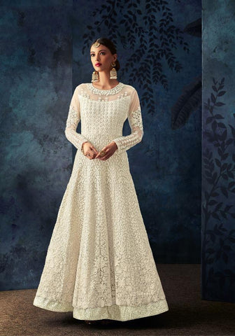 Cream Color Butterfly Net Semi Stitched Salwar - SAFEENA-7084