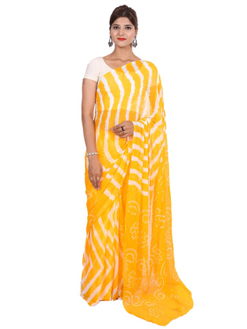 Yellow Color Faraar Chiffon Saree - SAR0011