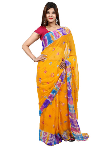 Yellow Color Faraar Chiffon Saree - SAR0042