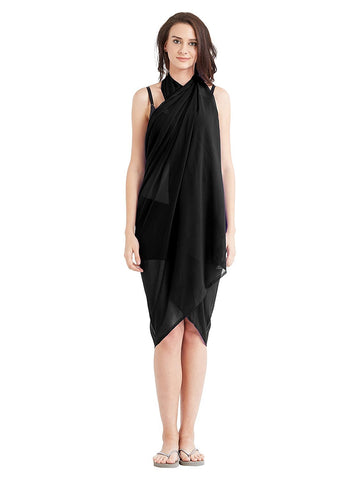 Black Color Georgette Unstitched Women SwimDress - SARONG01