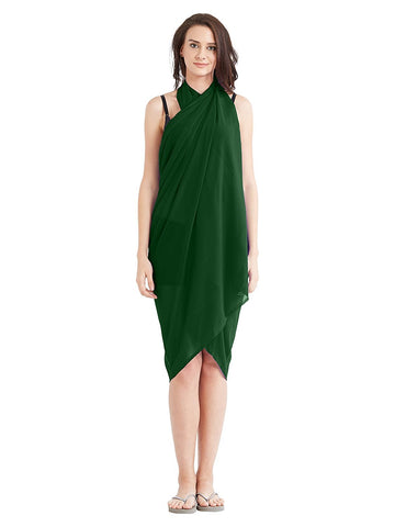 Bottle Green Color Georgette Unstitched Women SwimDress - SARONG02