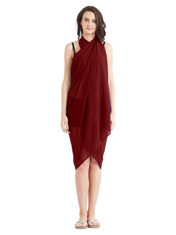 Maroon Color Georgette Unstitched Women SwimDress - SARONG03