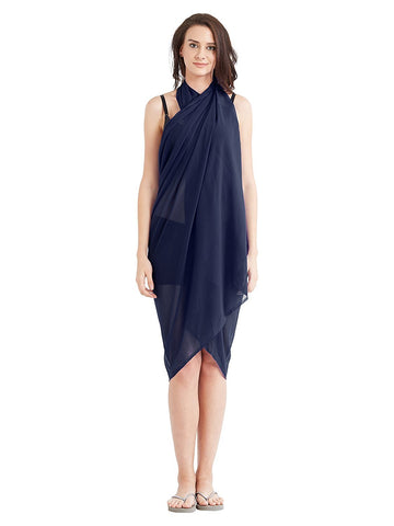 NavyBlue Color Georgette Unstitched Women SwimDress - SARONG04