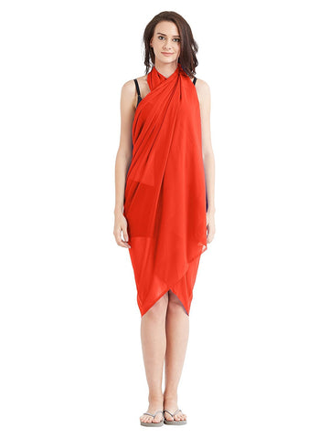 Orange Color Georgette Unstitched Women SwimDress - SARONG05